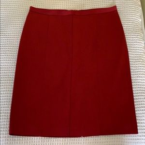 BCBG red satin pencil skirt